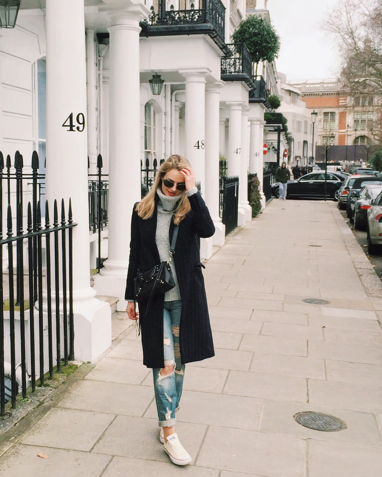 Streetstyle london, london blogger, pinstriped coat, boyfriend jeans, boyfriend jeans ripped, asos boyfriend jeans, white converse and boyfriend jeans, balenciaga shoulder bag, black balenciaga mini city, miu miu glitter sunglasses, grey turtleneck jumper