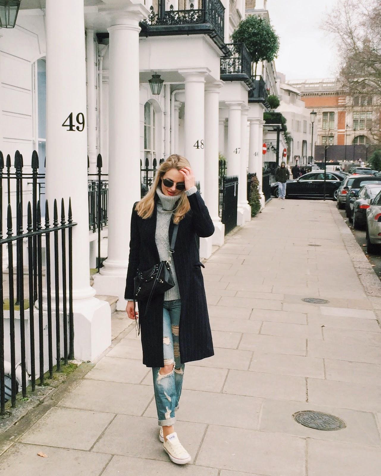 Streetstyle london, london blogger, pinstriped coat, boyfriend jeans, boyfriend jeans ripped, asos boyfriend jeans, white converse and boyfriend jeans, balenciaga shoulder bag, black balenciaga mini city, miu miu glitter sunglasses, grey turtleneck jumper