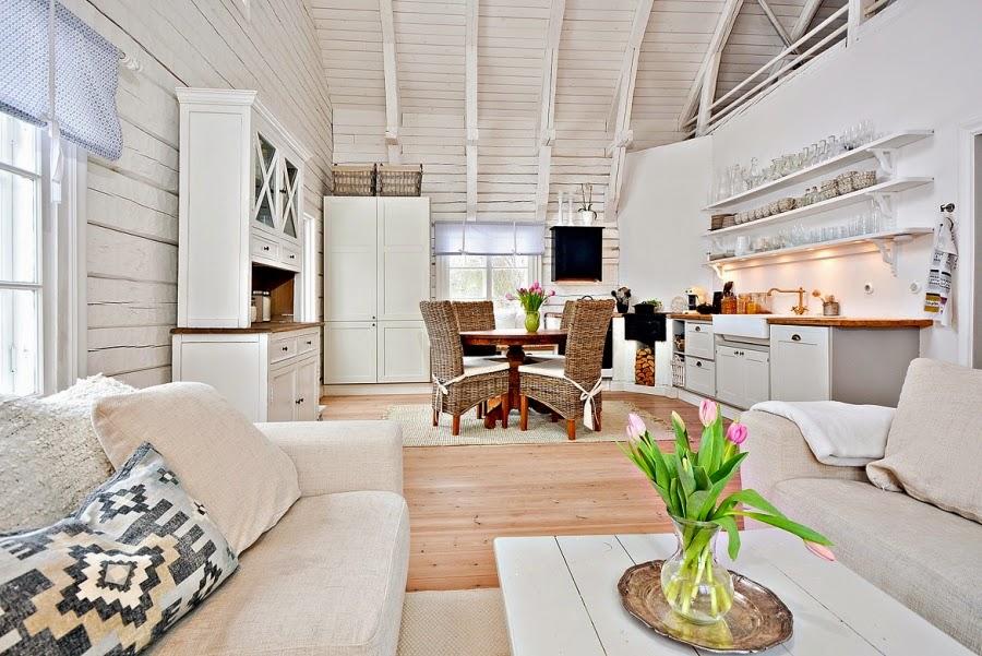 wystrój wnętrz, wnętrza, urządzanie mieszkania, dom, home decor, dekoracje, aranżacje, styl skandynawski, białe wnętrza, skandynawski, drewniany domek, salon, kuchnia