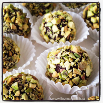 Here are some pistachio coated espresso truffles that I made. I also ...