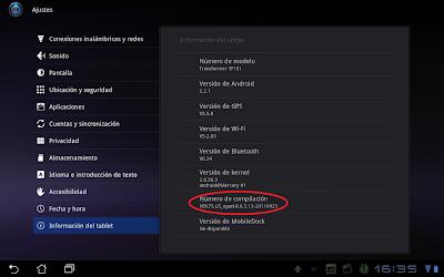 Imagen de la actualización del Android de la Asus Eee Pad Transformer TF101