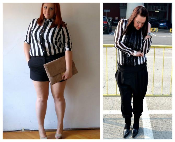 outfit curvy/plus size in tema bianco e nero, Cristina ed Eleonora