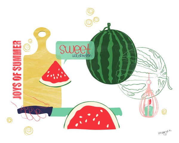 Watermelon summer Art Print -Watermelon love-summer Fruit kitchen Art,Food artwork,Kitchen wall art decor print,Still Life Print,fruit study