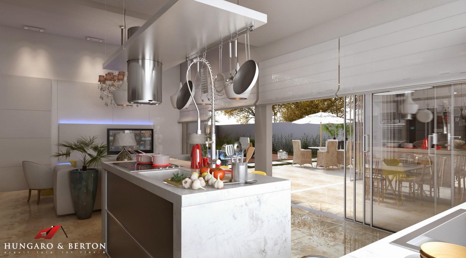 Arquitetura e Interiores: Cozinha Integrada Área de Lazer #AB2E20 1600 888