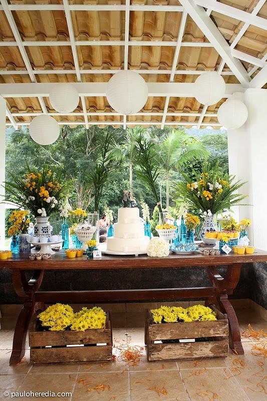 decoracao para casamento em azul e amarelo:Sposata!: Casamentos