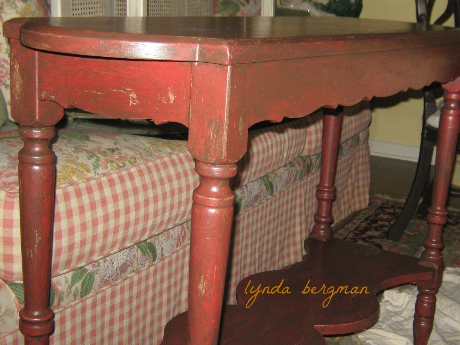 Lynda bergman decorative artisan painting red distressing a painting red distressing a small sofa table geotapseo Image collections