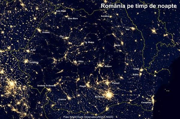 ROMÂNIA VĂZUTĂ NOAPEA DIN SATELIT
