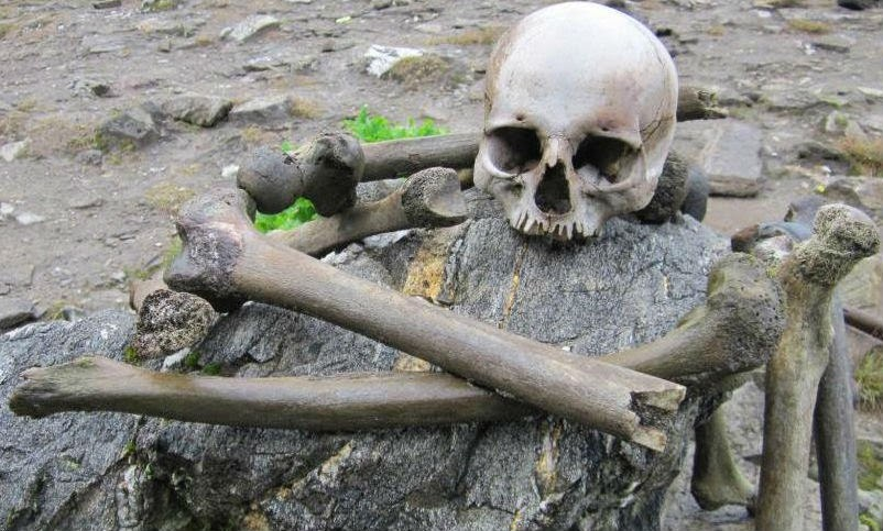 Skeletons scattered around the Roopkund Lake