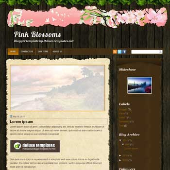 Pink Blossoms blogger template. personal template blog. featured template blog. image slideshow template for blog