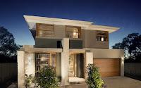casa moderna con columnas blancas de piedra en la fachada