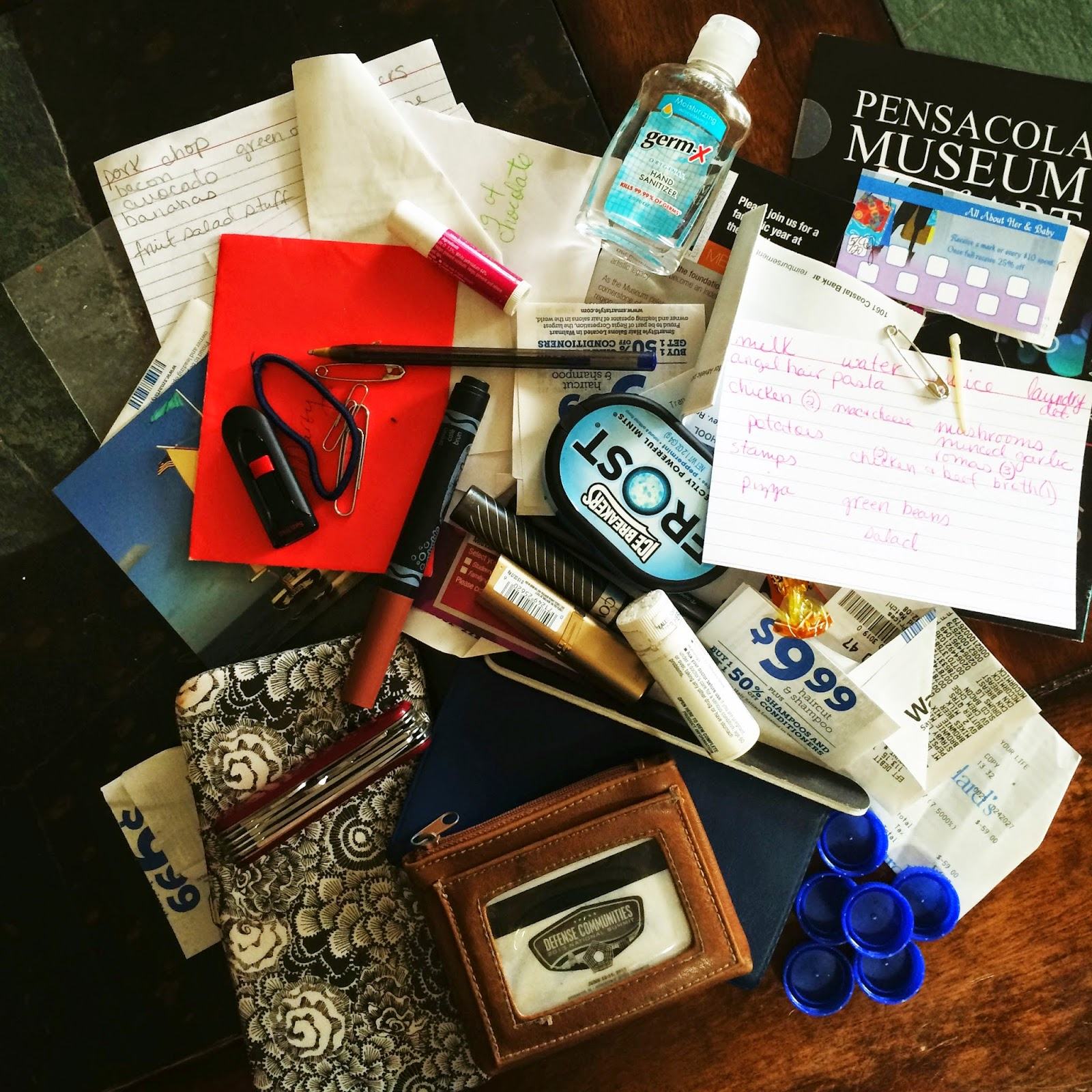 stuff in my purse, trash, receipts
