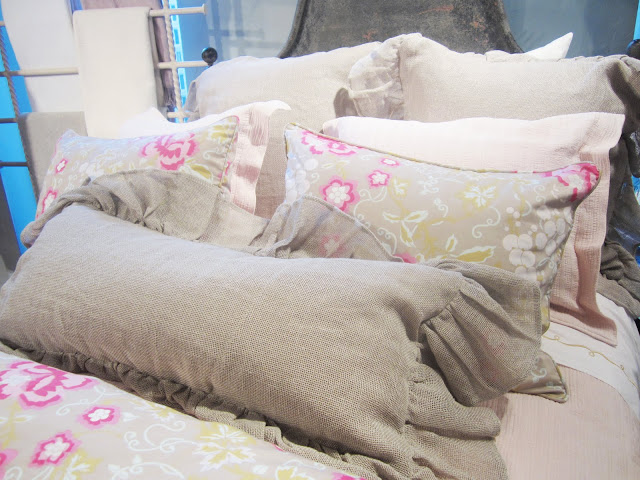 Close up of the chintz and mesh pillows