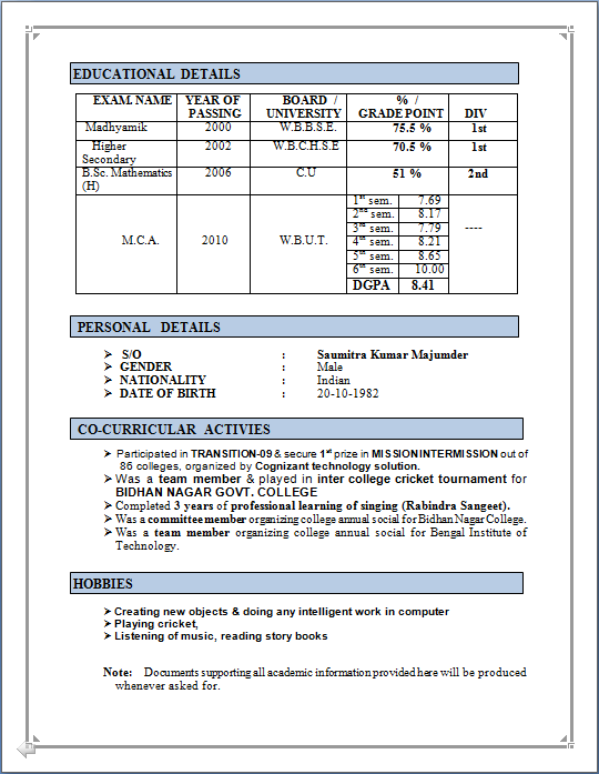 Professional Resume RESUME SAMPLE OF MCA FRESHER WITH – Resume Format for Mca