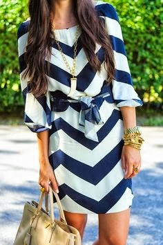 Blue and White Chevron Dress
