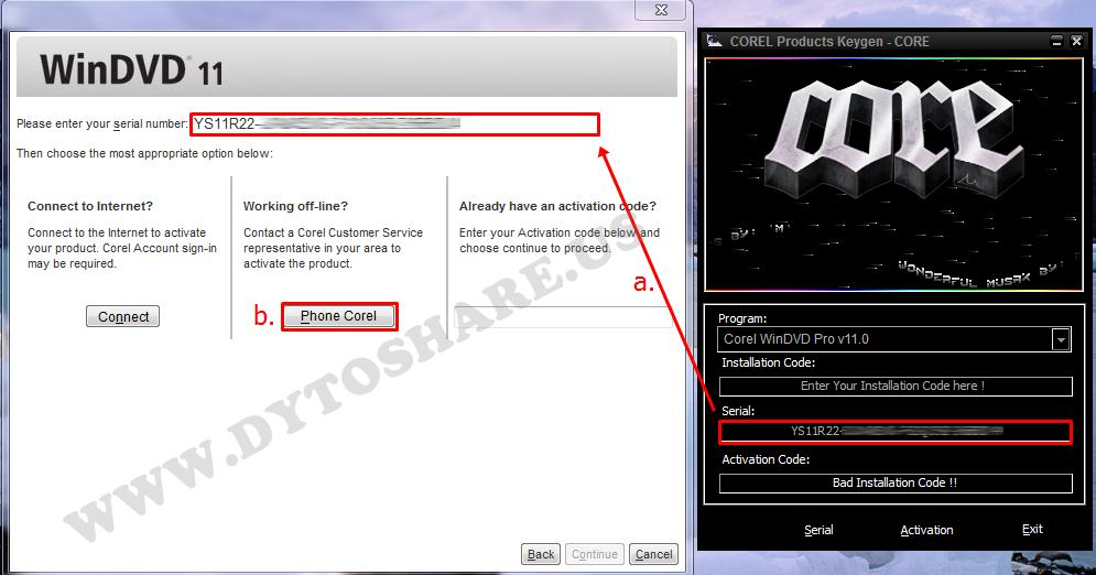 Installation Copy the code from the Keygen WinDVD - Then Click the 'Ac