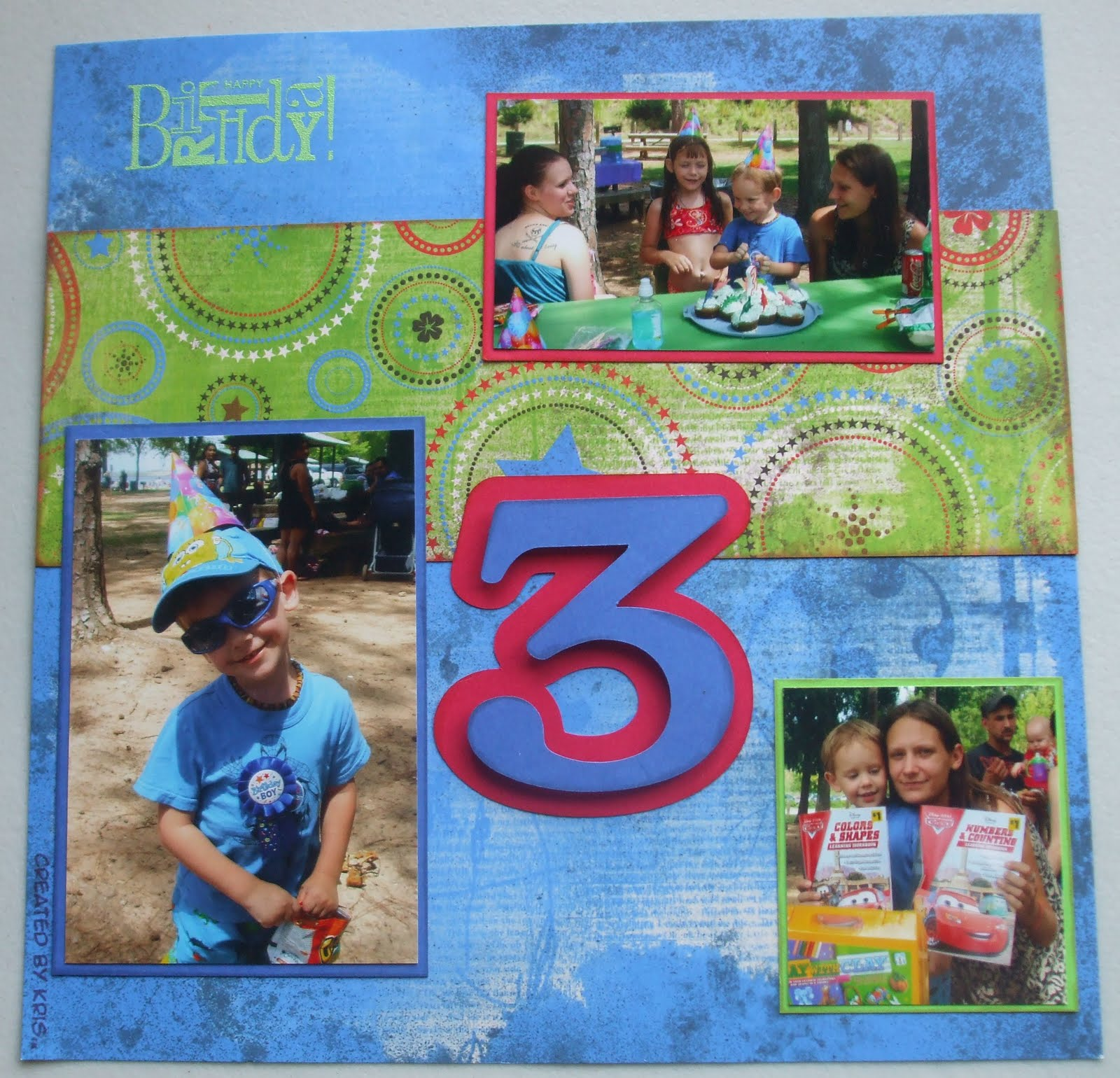 Scrapbook Layout Aidens 3rd Birthday Created By Kris