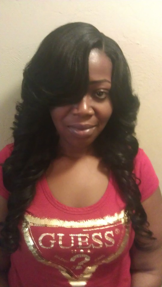 Straight Hair Layered And Curled On A Cap