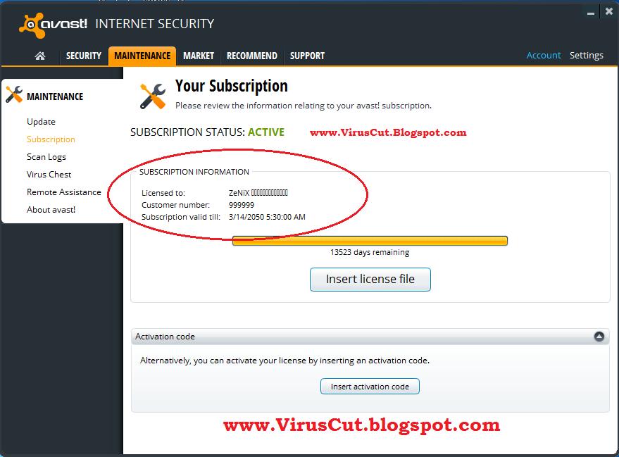 avast pro internet security license file