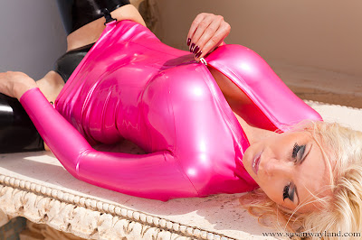 Susan Wayland Burning Pink Latex Dress, Laid out and Spread