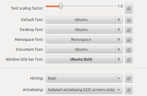 Ubuntu Tweak - Fonts Settings