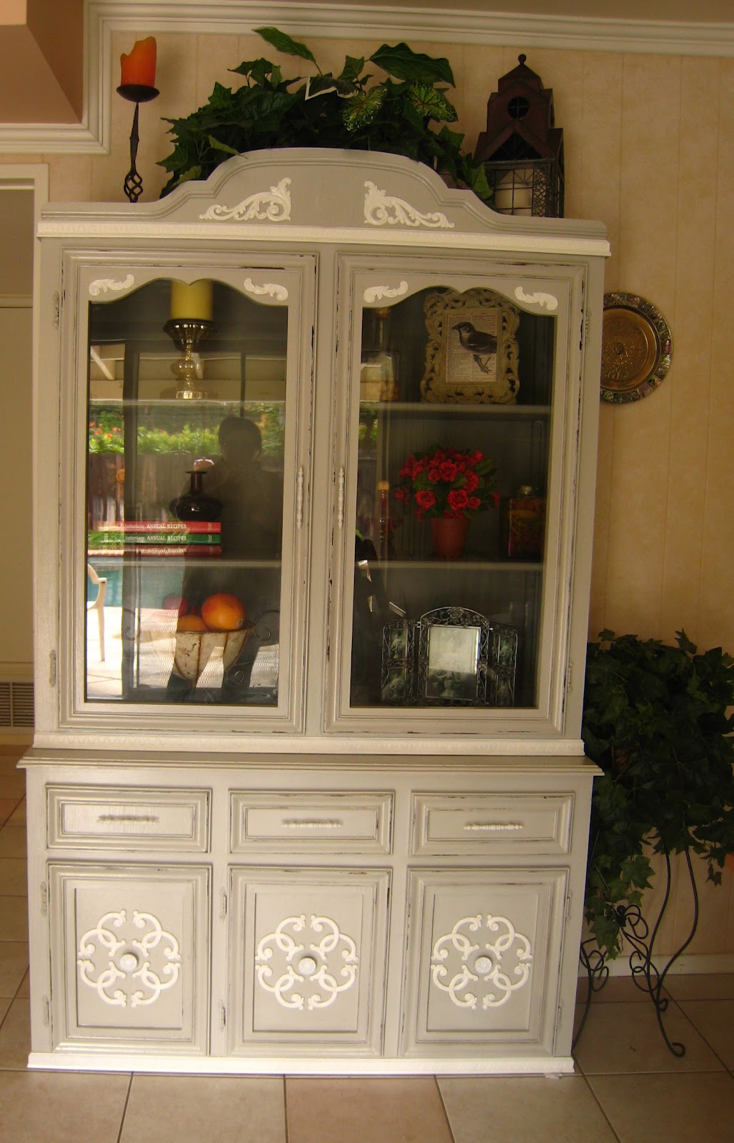 I Painted This China Cabinet In Light French Grey With A Classic French Grey  Interior And Shelves.