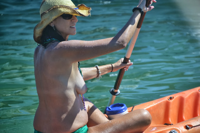 topless girl at Biscayne Bay Columbus Day Regatta 2013