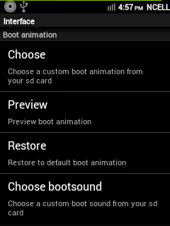 CyanMobile > Interface > Boot Animation Settings