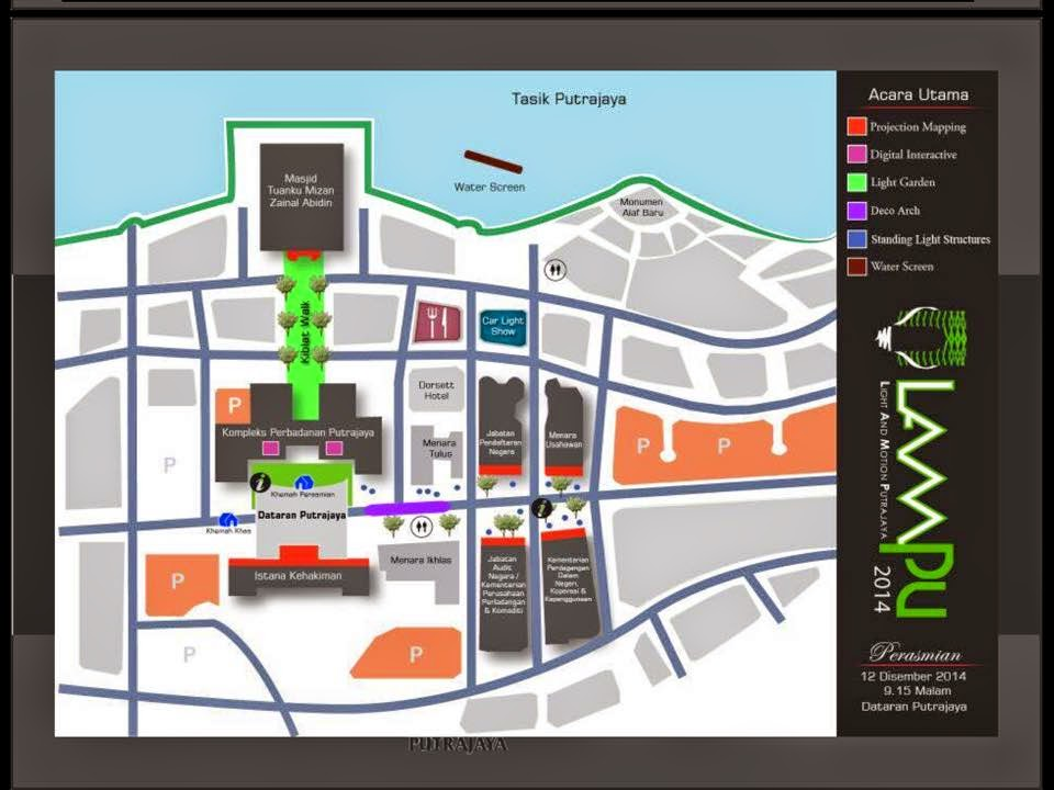 peta lokasi Festival Lampu Putrajaya 12-14 Disember 2014