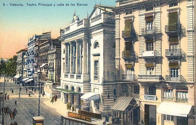 Postales de valencia teatro principal y calle de las barcas for Teatro principal valencia