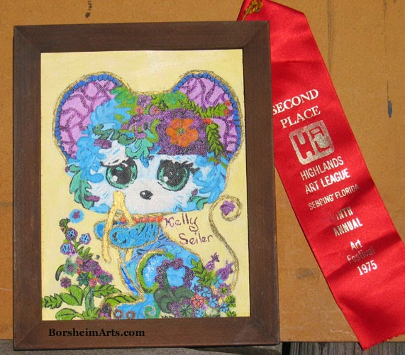 Children's art category contest winner, mouse, child art, painting, 1975
