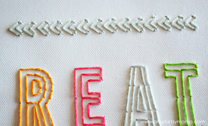 DIY Embroidered Canvas at artsyfartsymama.com #AmyTangerine #embroidery #create