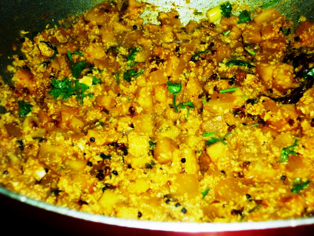 yam and pumpkin curry,veg side dish for rice