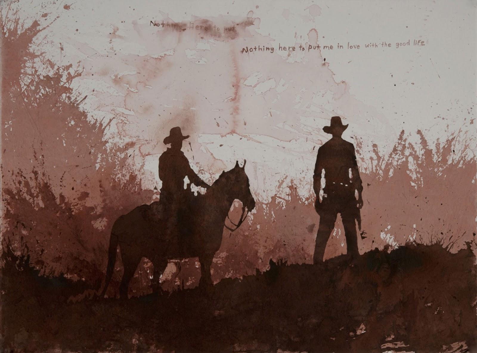 un vaquero a caballo y otro de pie en acuarela