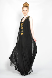 Vintage 1960's black pleated maxi dress with gold embellished beaded neckline.