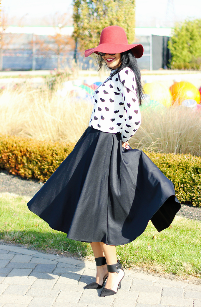 Heart print sweater, ASOS scuba midi skirt, ASOS black circle skirt, ASOS full midi skirt, Heart sweater