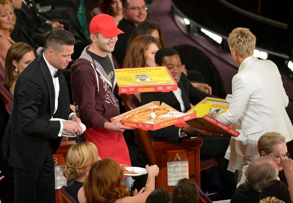 ellen degeneres brad pitt pizza