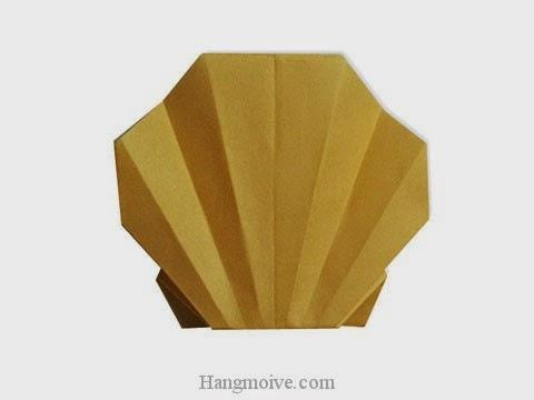 Cách gấp, xếp con sò bằng giấy origami - Video hướng dẫn xếp hình sinh vật dưới nước - How to fold a Clam