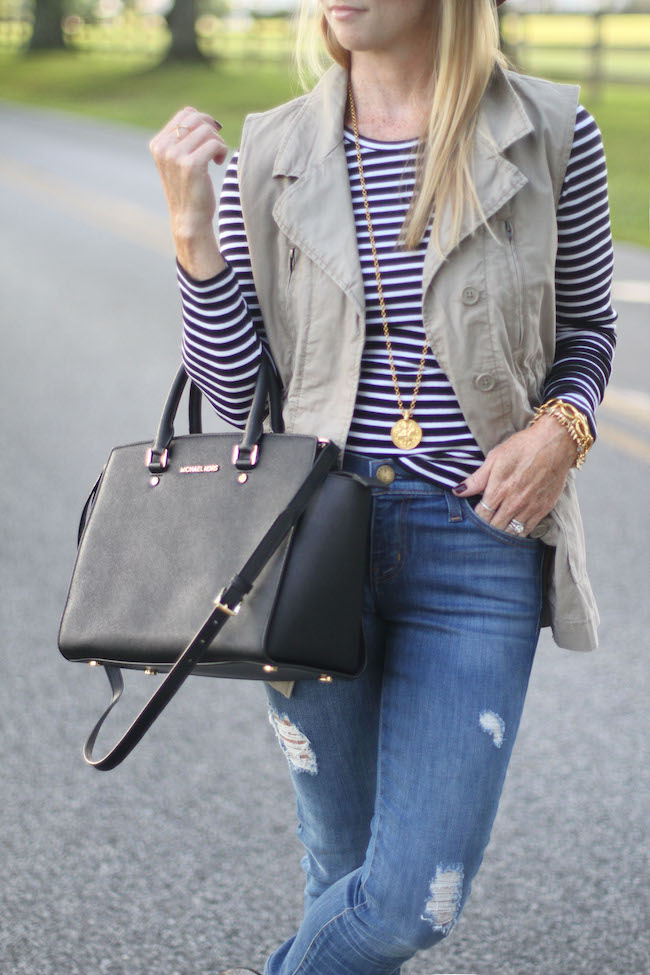 julie vos necklace, michael kors handbag, current elliot jeans