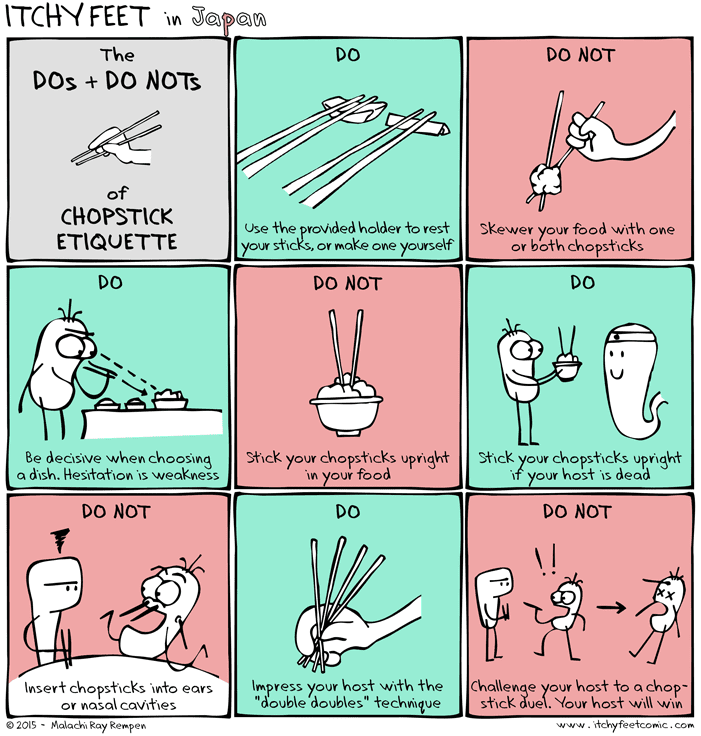 Chopstick etiquette from Japan, dos and do nots, how to use chopsticks