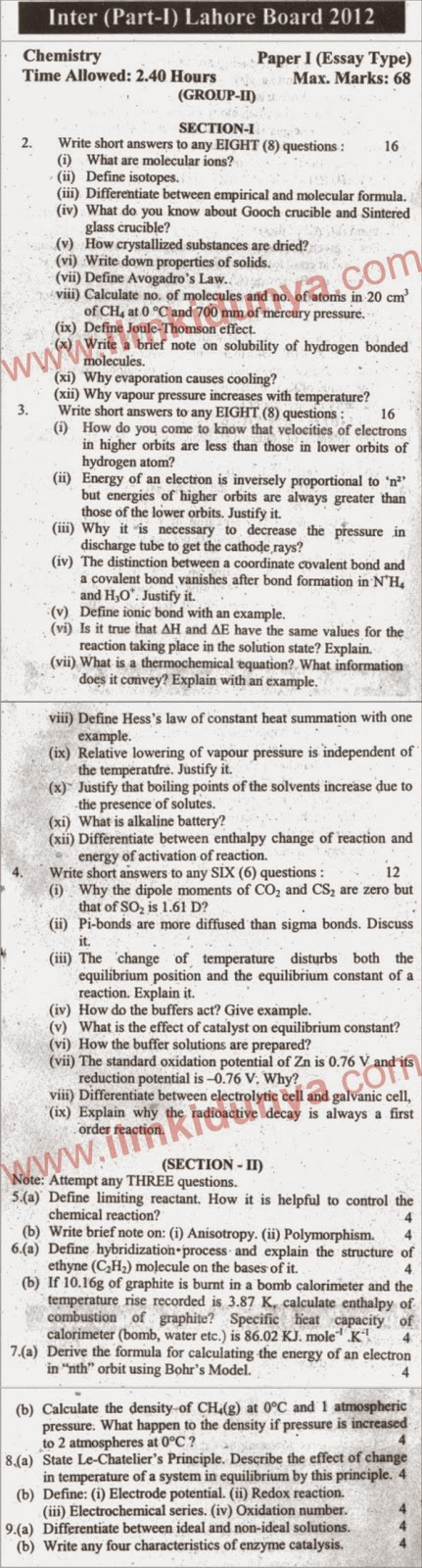 Lahore Board Chemistry Inter Part 1 Past Paper 2012 Subjective Group 2