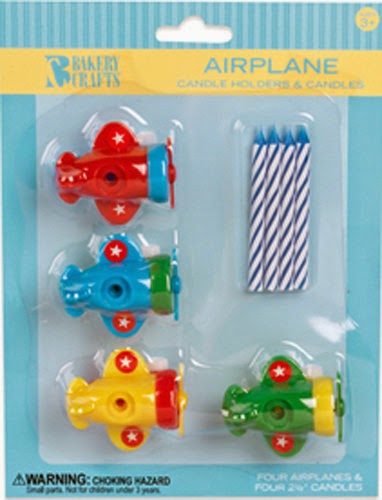 Set of 4 Airplane Cake Candle Holders Toppers Decorations Party Supplies Favors