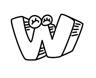 Alfabeto para colorir - Letra W colorir
