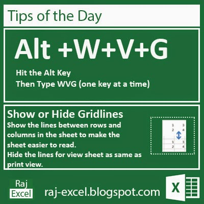 Microsoft Excel 2013 Short Cut Keys: Alt + WVG (Show or Hide Gridlines)