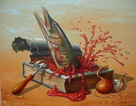 Gennady Privedentsev pinturas arte surreal Sardinha enlatada em livro