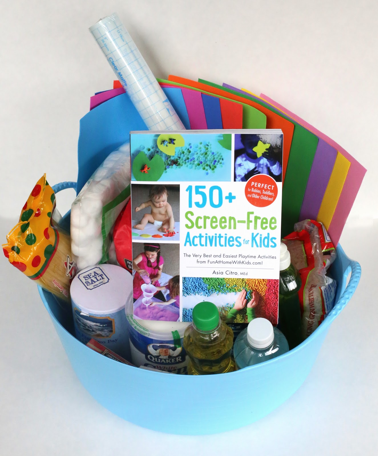DIY Kits for Creative Gifts:  Ideas for small or large sensory kits for a gift for a friend or classmate, your child's preschool teacher or caregiver, a grandparents house or babysitter's kit, gift basket for a fundraising auction, birthday party or baby shower gift!  From Fun at Home with Kids