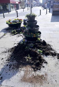 Youths Wreck Town Centre Flower Planters