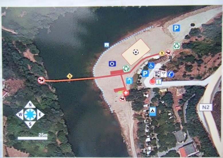 Mapa da área da Praia Fluvial do Reconquinho