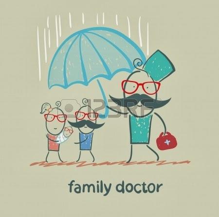 El médico de Familia sostiene un paraguas bajo la lluvia