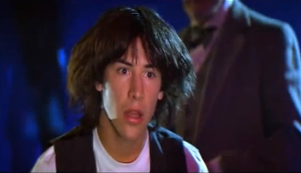 Keanu Reeves as a young teen in Bill and Ted's Most Excellent Adventure
