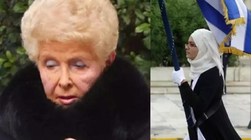 Eπίθεση από την Βέφα Αλεξιάδου για τη σημαιοφόρο με τη μαντήλα: «Φώναξαν και οι δικοί της το ΟΧΙ; Σαν δεν ντρεπόμαστε»